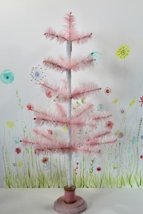 "23"" pale pink hand dyed feather tree with vintage wooden spool stand"
