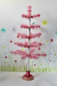 """23"""" hot pink hand dyed feather tree with vintage spool tree stand"""
